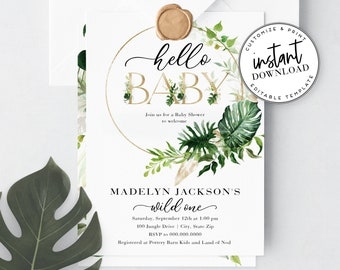Jungle Baby Shower Invitation, Wild One Baby Shower Invite Template, Tropical Baby Shower Invitations Instant Download [id:4327078,4327089]
