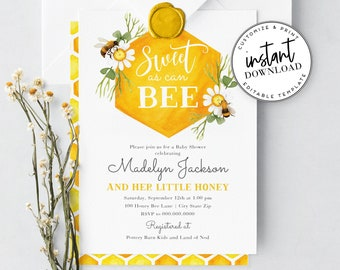 Bee Baby Shower Invitation, Little Honey Baby Shower Invite Template, Little Honey Shower Instant Download [id:4302578,2041771]