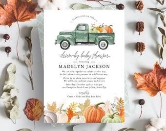 Pumpkin Harvest Truck Drive By Baby Shower Invitation, Fall Drive By Baby Shower Digital Invite Template, Instant Download [id:5150800]