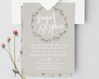 Sugar and Spice Baby Shower Invitation, Floral Baby Shower Digital Invite Template, Spring Baby Shower Instant Download [id:5897063]
