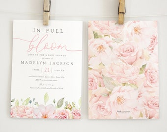 In Full Bloom Blush Pink Baby Shower Invitation, Pretty in Pink Rose Baby Shower Digital Invite Template, Instant Download [id:5996573]