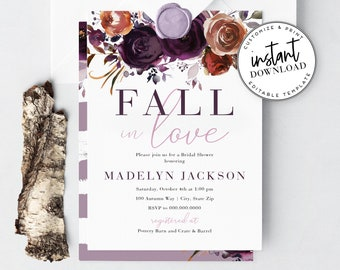 Fall in Love Bridal Shower Invitation, Dark Purple Fall Floral Bridal Shower Digital Invite Template, Instant Download [id:4353384,4352287]