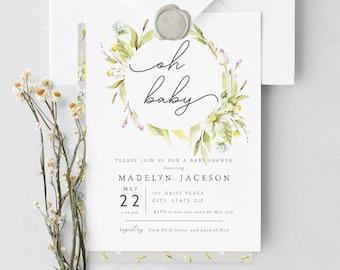 Oh Baby Daisy Baby Shower Invitation Template, Customizable Daisy Wreath Baby Girl Shower, Floral Editable Digital Invite [id:7219998]