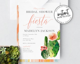 Cactus Bridal Shower Fiesta Invitation, Chic Mexican Bridal Shower Digital Invite Template, Instant Download [id:4310385,4310635]