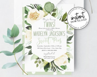 Twin Baby Shower Invitation, Sweet Peas Baby Shower Invite Template, Gender Neutral Twin Baby Shower Instant Download [id:4353038,4353112]