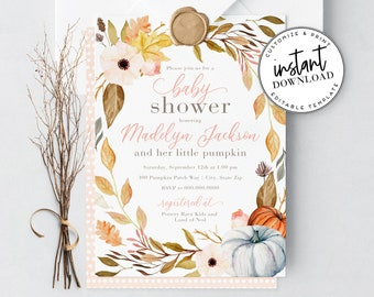 Beautiful Little Pumpkin Baby Shower Invitation, Watercolor Fall Harvest Baby Shower Invite Template, Instant Download [id:4296539,4296743]