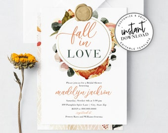 Fall in Love Bridal Shower Invitation, Fall Floral Bridal Shower Digital Invite Template, Instant Download [id:4330068,4330076]