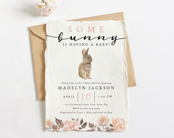 Bunny Spring Baby Shower Invitation, Spring Floral Baby Shower Digital Invite Template, Bunny Rabbit Instant Download [id:5810540]