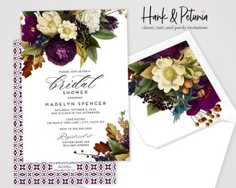 Jewel Tone Botanical Fall Bridal Shower Invitations, Autumn Floral Bridal Shower Invitation, Burgundy Bridal Shower Invite, Envelope Liner