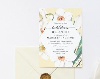 Spring Tulip and Daffodil Bridal Shower Brunch Invitations, Spring Floral Botanical Bridal Shower Invites, Instant Download [id:5906199]