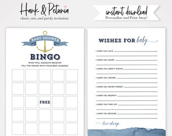 Watercolor Ahoy It's a Boy Baby Shower Game Cards, Instant Download [id:2028060]