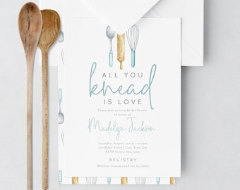 Kitchen Bridal Shower Invitation, Recipe Cooking Bridal Shower Digital Invite Template, Couples Shower Instant Download [id:5450679]