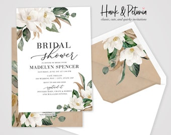 White Magnolia Bridal Shower Invitation, Floral Bridal Shower Invite, Bridal Shower Invite, Envelope Liner