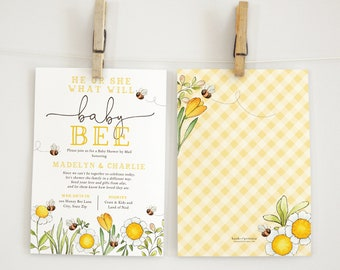 Bee Baby Shower By Mail Invitation, Gender Neutral Little Honey Baby Shower Digital Invite Template, Instant Download [id:5838485]
