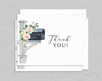 Mailbox Baby Shower By Mail Thank You Card, Remote Social Distance Thank You, Customizable Note Card Instant Download [id:4870880]
