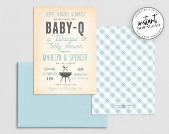 Couples BBQ Baby Shower Invitation, BabyQ Baby Shower Invite Template, Cookout Baby Shower Invitations Instant Download [id:4372772,4372887]
