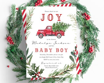 Christmas Tree Truck Baby Shower Invitation,  Winter Baby Shower Digital Invite Template, December Baby Shower Instant Download [id:5138477]
