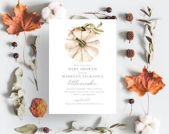 Little Pumpkin Baby Shower Invitation, White Pumpkin Fall Harvest Baby Shower Invite Template, Instant Download [id:4389143,4389140]
