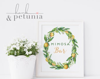 Printable Bridal Shower Brunch Mimosa Bar Sign, Brunch & Mimosas Bridal Shower Sign, Immediate Download