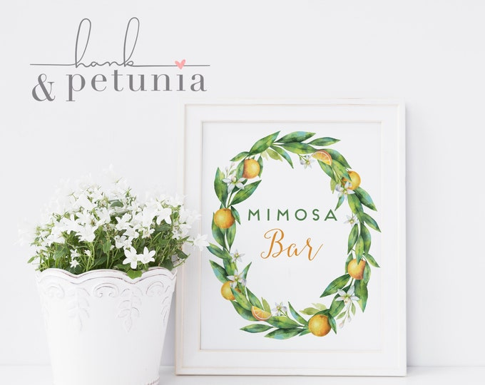 Printable Bridal Shower Brunch Mimosa Bar Sign, Brunch & Mimosas Bridal Shower Sign, Immediate Download