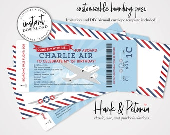 Airplane Boarding Pass Birthday Invitation and Airmail Envelope Template [id:2029409,2029339,2029900,2029862,2029582,2029626]