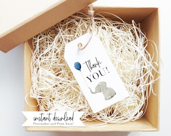 Little Peanut Elephant Baby Shower Favor Tags, Elephant Gift Tags, Instant Download [id:3938074]