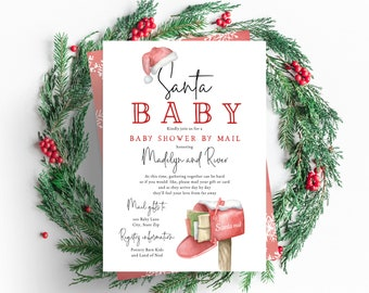 Santa Baby Winter Baby Shower By Mail Invitation, December Baby Shower By Mail Digital Invite Template, Instant Download [id:5409765]