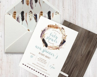 Feather Rustic Boho Watercolor Baby Shower Invitation, Boho Chic Baby Shower, Boy Baby Shower Invitation, Lined Envelopes