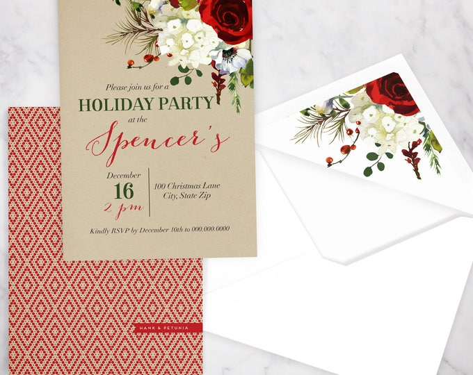 Elegant Winter Watercolor Holiday Party Invitation, Christmas Party Invitation, Winter Party Invitation, Lined Envelopes