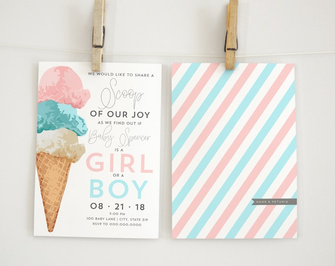 Ice Cream Gender Reveal Invitation, Gender Reveal Invitation, Lined Envelopes