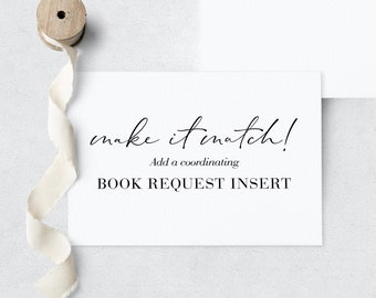 Coordinating Book Request Insert, Add-on Book Request, Digital or Printed Book Request Inserts