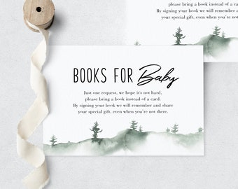 Let the Adventure Begin Woodland Baby Shower Book Request Insert Card, Books for Baby Insert Card, Instant Download [id:3959467]