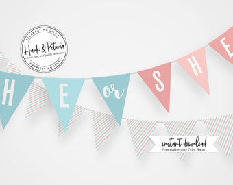 Customizable Gender Reveal Party Banner, Instant Download [id:2039583]