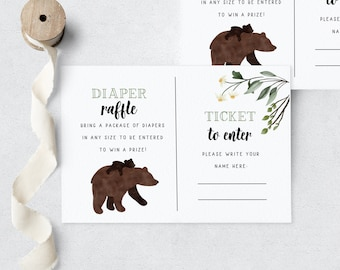 Mama Bear Baby Shower Diaper Raffle Insert Card, Customizable Bear Cub Diaper Raffle Insert Card, Baby Bear Instant Download [id:5571095]