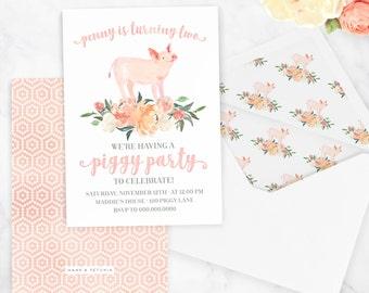 Watercolor Piggy Party Invitation, Farm Birthday Party, Piglet Party, Pig Party, Floral Invite, Envelope Liner