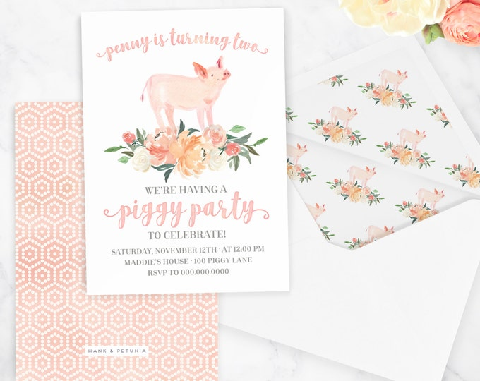 Watercolor Piggy Party Invitation, Farm Birthday Party, Piglet Party, Pig Party, Floral Invite, Envelope Liner
