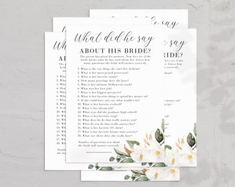 Magnolia Bridal Shower What Did He Say Game Card, Bridal Shower Game, Instant Download [id:6240719]