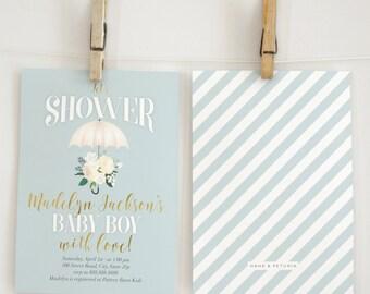 Vintage Inspired Umbrella Baby Shower Invitation, Rain Shower, Rain Baby Shower, Watercolor Florals, Umbrella Invite, Lined Envelope