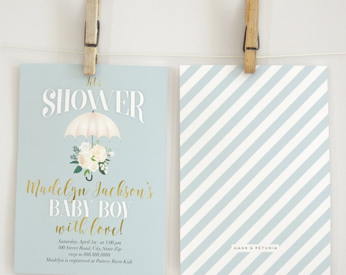 Vintage Inspired Umbrella Baby Shower Invitation, Rain Shower, Rain Baby Shower, Watercolor Florals, Umbrella Invite, Lined Envelope