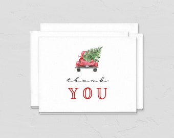Christmas Tree Truck Baby Shower Thank You Card, December Baby Shower Thank You Note, Customizable Note Card Instant Download [id:5435892]