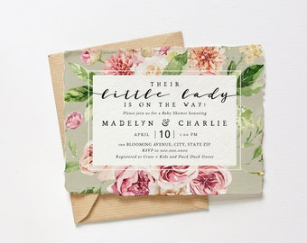 Customizable Little Lady Floral Baby Shower Invitation Template, In Full Bloom Baby Shower Digital Invite, Instant Download [id:6747915]