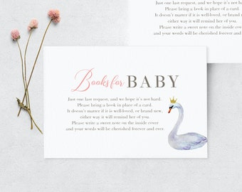 Beautiful Swan Princess Baby Shower Book Request Insert Card, Books for Baby Insert Card, Instant Download [id:3947007]
