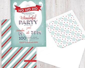 Retro Santa Beard Holiday Party Invitation, Christmas Party Invitation, Winter Party Invitation, Lined Envelopes