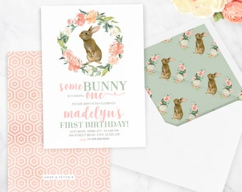 Watercolor Bunny Rabbit Birthday Invitation, Spring Birthday Party, Easter Bunny Party, Easter Party, Floral Invite, Envelope Liner