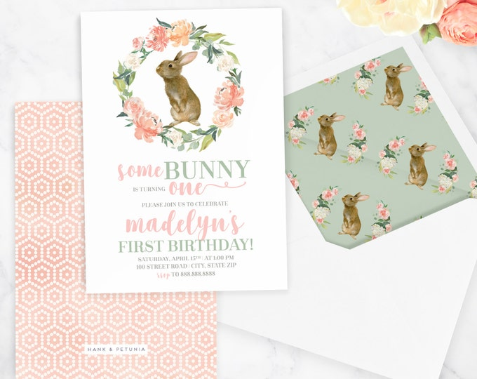 Watercolor Bunny Rabbit Birthday Invitation, Spring Birthday Party, Easter Bunny Party, Easter Party, Floral Invite, Envelope Liner