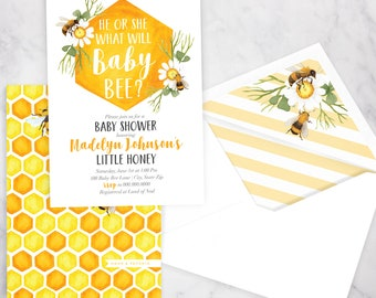Baby Bee Baby Shower Invitation, Bee Gender Reveal, Honey Bee Shower Invitation, Gender Neutral Baby Shower Invite, Lined Envelope