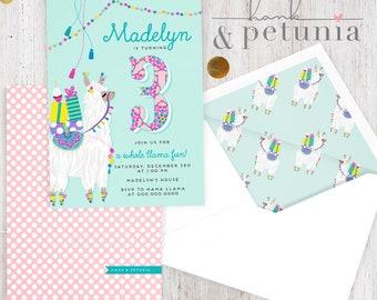 Little Llama Birthday Party Invitation, Llama Party Invitation, Llama Llove Party, Birthday Invitation, Lined Envelopes