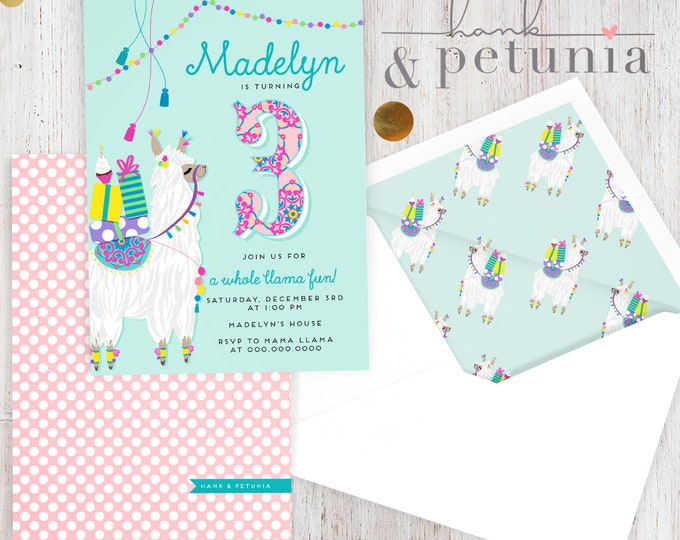 Little Llama Birthday Party Invitation, Llama Party Invitation, Llama Llove Party, Birthday Invitation, Lined Envelopes
