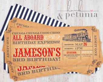 Choo Choo Train Ticket Birthday Invitation, Chugga Chugga Two Two Invite, Train Conductor Party Invitation, Steam Engine Birthday Party