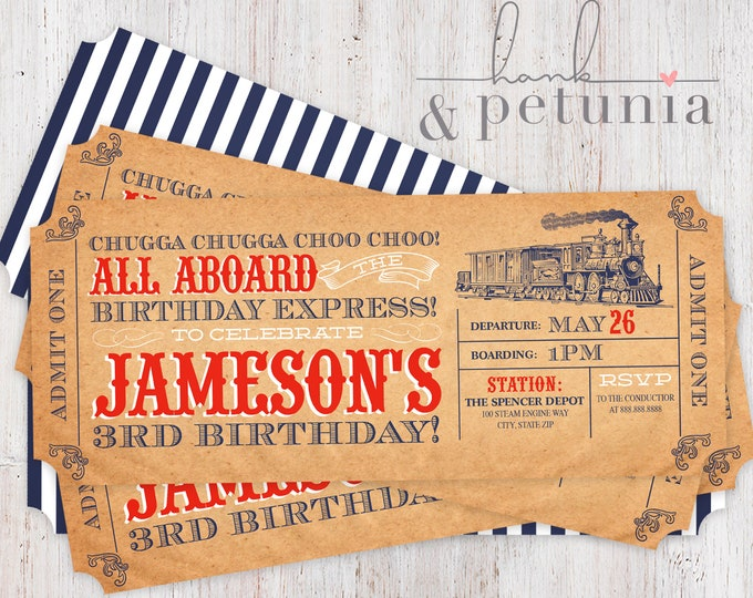 Choo Choo Train Ticket Invitation